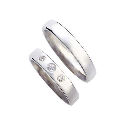 Vielsesringe - Sølvringe med 3 zirkonia og smuk blank overflade